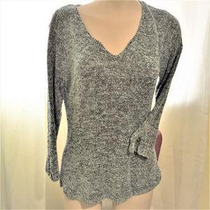 Medium Weight Gray Blue Black Sweater V Neck